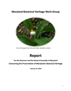 MD Botanical Heritage Work Group Report